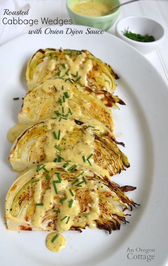 Roasted Cabbage Wedges with Onion Dijon Sauce