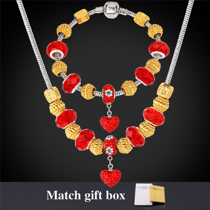 Cheap Jewelry Sets, Buy Directly from China Suppliers:                      European Brand Pan Charms Necklace Bracelet Sets For Women 18K Gold Plated Crystal Glass Bea