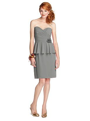 Dessy  57 Grand Style 5703 http://www.dessy.com/dresses/bridesmaid/5703/ color:  charcoal gray
