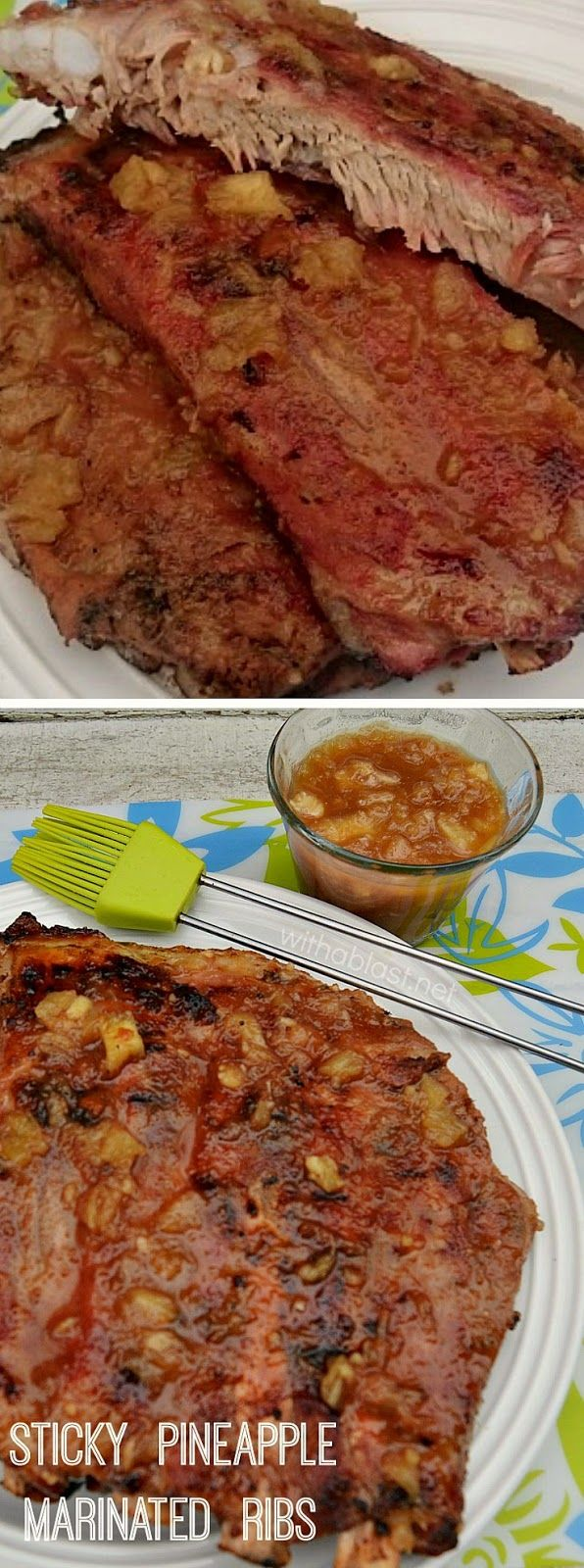 Tender, juicy and soooo sticky, delicious Pineapple Marinated Ribs ~ a must to throw on the BBQ !