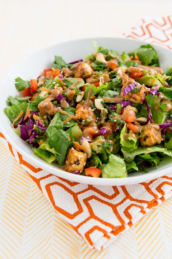 Chopped Power Salad with Baked Tofu & Almond-Miso Dressing ...