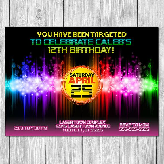 Laser Tag Invite Laser Tag Birthday Party by TheRestUnwritten