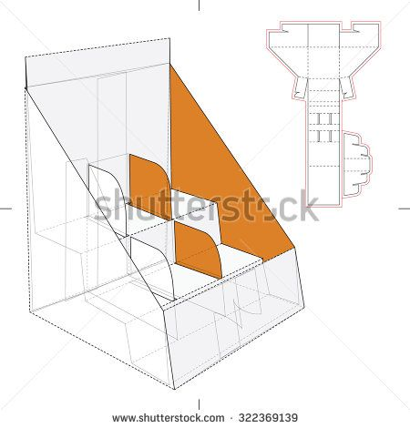 Shelf Stand Box with Counter Display and Die Line Template