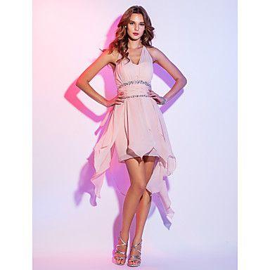 love it  una línea cabestro vestido de cóctel de gasa corta / mini (759.816) – CLP $ 72.773