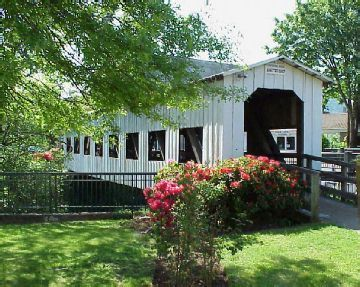 """Centennial Pedestrian Bridge - located in downtown Cottage Grove, the """"covered bridge capital of Oregon."""""""