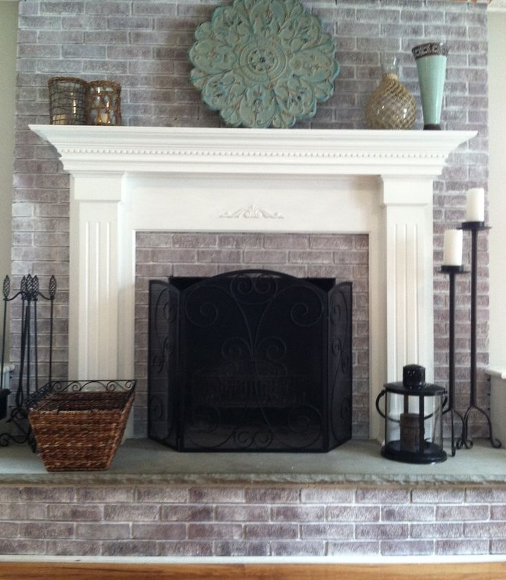Whitewashed The Fireplace In Two Hours Fireplace Pinterest