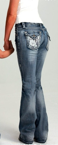"""Cowgirl Tuff"" Lacy Cream Jean Never in my life have I paid that much for a pair of jeans but I would on these! I love em!"