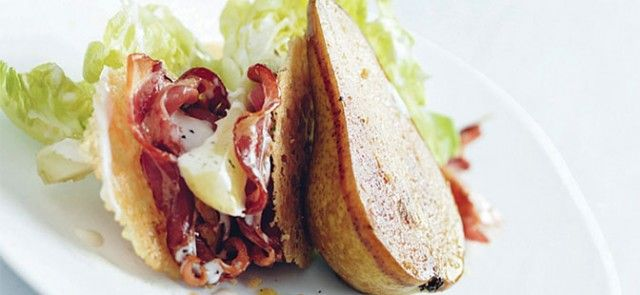 Roasted Pear & Pancetta Salad with Parmesan Wafers