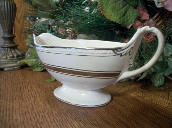 Gravy Boat by Craftsman Dinnerware Vintage Serving Dish White and Gold Art Deco…