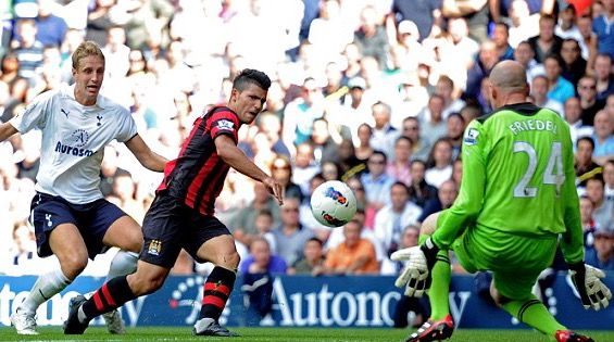 Tottenham 1 Man City 5 in Aug 2011 at White Hart Lane. Sergio Aguero scores after 60 minutes to make it 4-0 #Prem