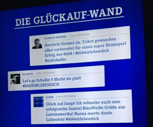 #Schalke04 bringt als erster Bundesligist die Twitterwall in den Kabinentrakt. #BuLi #s04