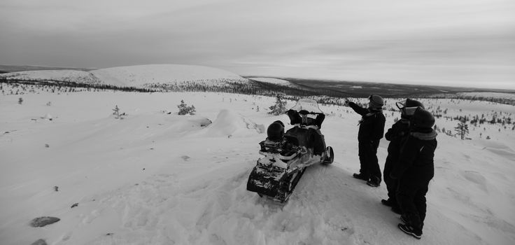 Guided Tours in Northern Lapland, Finland, include Snowmobiling by day and Northern Lights specialist guided tours in the evening:  http://www.kontikifinland.com/holidays/destination/1194882/nellim/aurora-borealis-in-lapland-guided-expedition