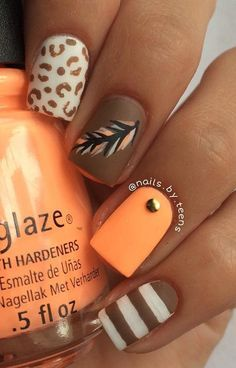 Spring nail art design taking inspiration from earth colors. You can make it so each of your nails has different designs using bright melon and chocolate colors.