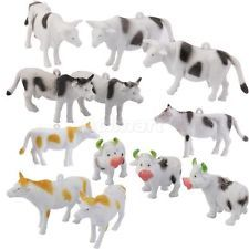 Lot 12pcs Plastic Cattle Cow Animals Farm Yard Model Figurine Kids Favor Toy