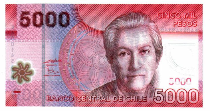 Gabriela Mistral  (Vicuña, 1889 – Nueva York, 1957) en el billete de 5000 pesos chilenos