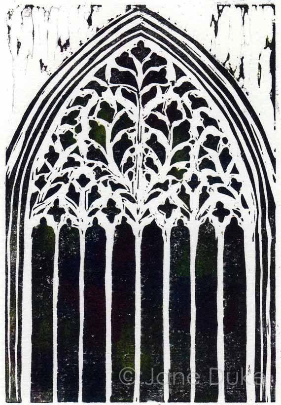 York Minster Window linocut relief print unframed