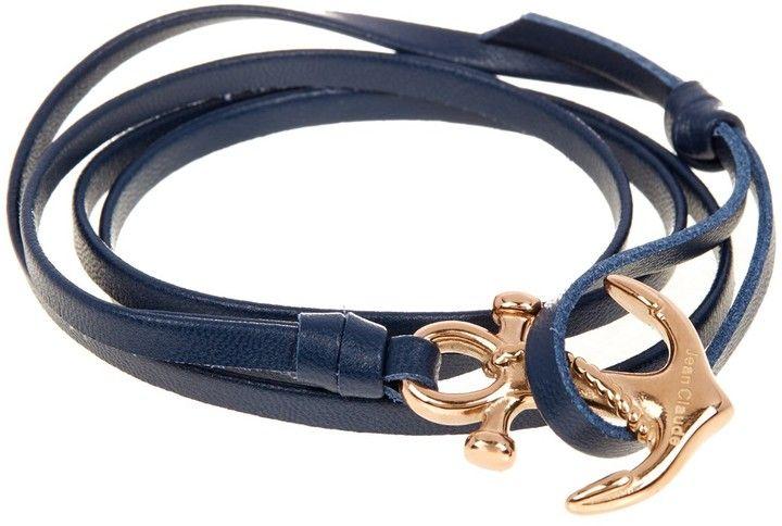 Jean Claude Multi Wrap Leather Gold Tone Anchor Hook Bracelet