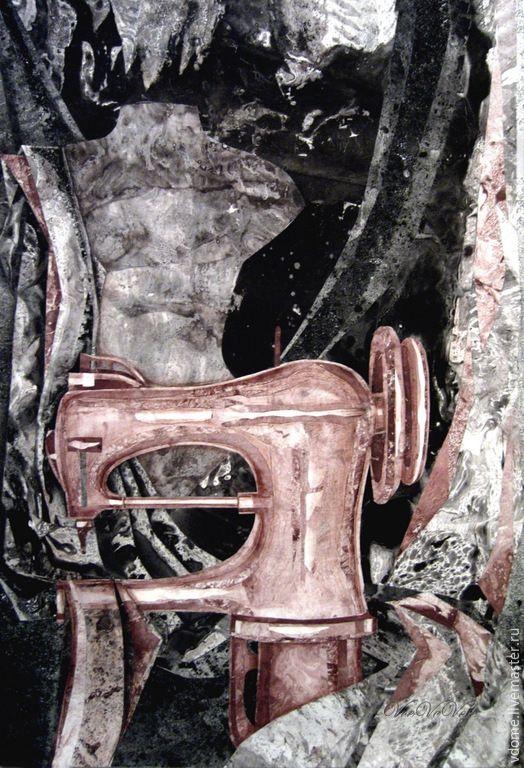 Купить картина коллаж: Мастерская Маэстро арт графика - картина панно на стену, графическая работа