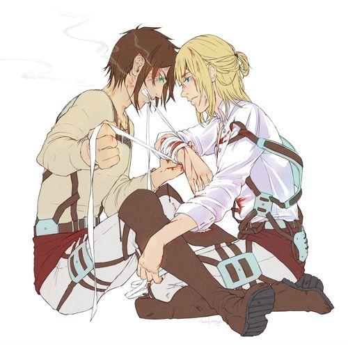 "Shingeki no Kyojin - older Eren and Armin commission for pengiesama! ""Eren, calm down, it's just—"" ""NO."""