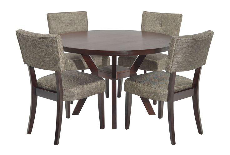 macie 5 piece round dining set 5 piece dining set dining sets and round dining set. Black Bedroom Furniture Sets. Home Design Ideas