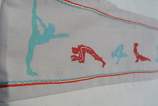 Veľká taška s yoga motívom /čierna-biela,tyrkysová-červená/