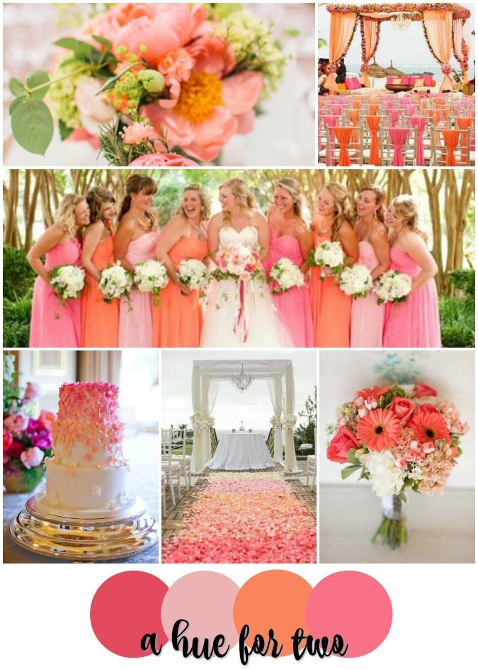 Coral and pink wedding colour scheme summer wedding for Summer wedding color combinations