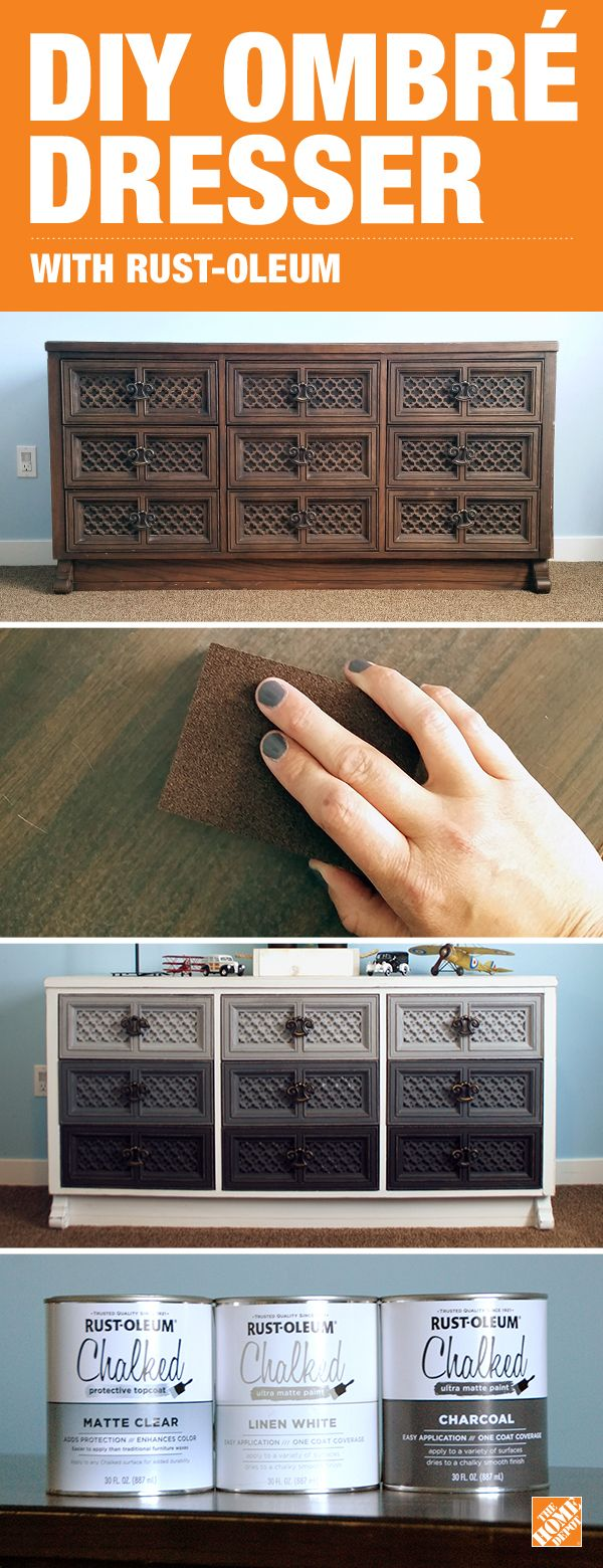 30 Blogger Natalie Dalpias gave her thrift-store dresser an on-trend DIY ombré update using a little elbow grease and Rust-Oleum Chalked Paint in various mixes of White Linen and Charcoal. Click to see the step-by-step tutorial on our blog.