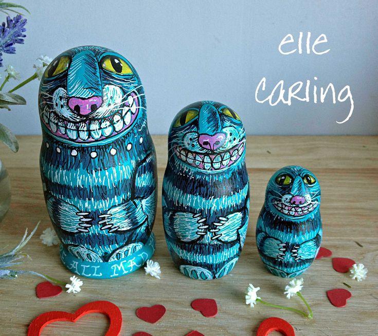 Cheshire Cat Alice in Wonderland nesting dolls. Set of 3