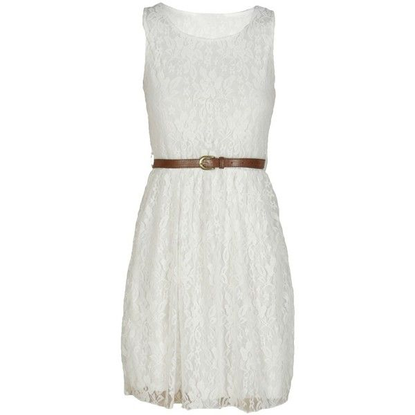 White Sleeveless Lace Skater Dress found on Polyvore featuring dresses, lace skater dress, sleeveless dress, lacy dress, skater dress and white day dress