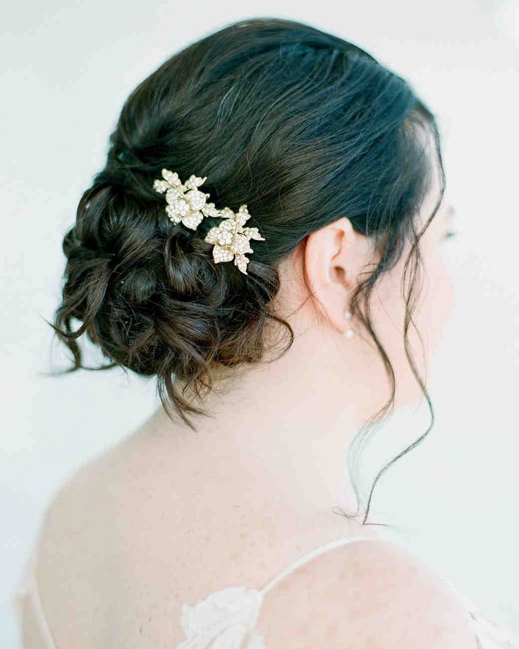 One Couple's Lush, Modern Afternoon Wedding in Brooklyn | Martha Stewart Weddings - A gold and white floral-shaped pin was an elegant finishing touch to the bride's updo wedding hairstyle. #weddingaccessories #weddinghairstyles #updohairstyles #weddingideas