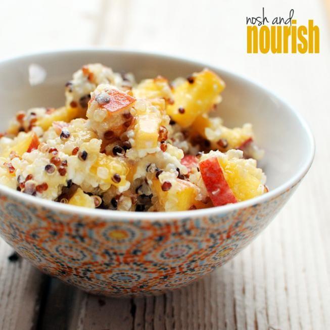 Summer Quinoa SaladDelicious Healthy, Food Peaches, Healthy Eating, Salad Recipe, Healthy Recipese Food, Quinoa Salad, Goats Cheese, Goat Cheese, Summer Quinoa