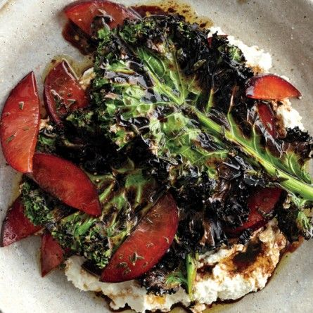 Grilled Kale Salad with Ricotta and Plums Recipe