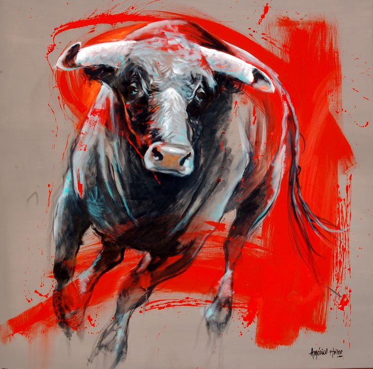 "AMERICO HUME Recent Work ""bull in vermilion"" 2015. Realism Abstract"