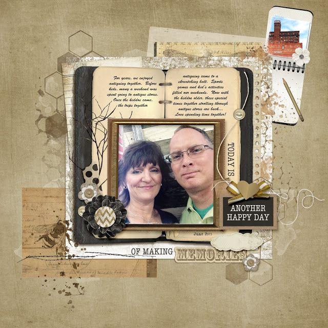 Another Happy Day using Rosey Posey Products - Antiquing Scrapbook Layout www.sheilarumney.com