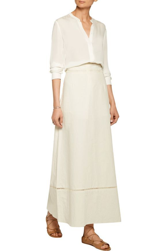 Riley pointelle-trimmed linen and cotton-blend maxi skirt | ISABEL MARANT | Sale up to 70% off | THE OUTNET