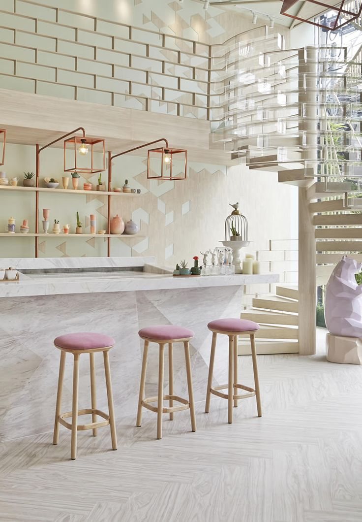 Bangkok dessert bar plays a sugar coated ode to sweet stuff throughout its soothing pastel interiors...