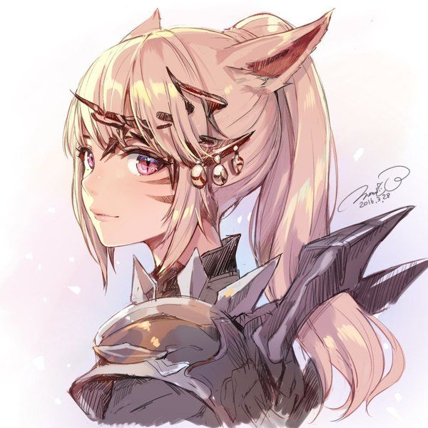Image d'anime 1000x1000 avec final fantasy final fantasy XIV square enix miqo'te momoko (momopoco) long hair single looking at viewer blonde hair smile fringe animal ears pink eyes looking back signed lips cat ears catgirl payot upper body