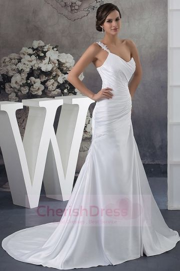 One Shoulder Concise Ruched Lace Beading Chapel Train Wedding Dress - Wedding Dresses - WEDDING APPAREL