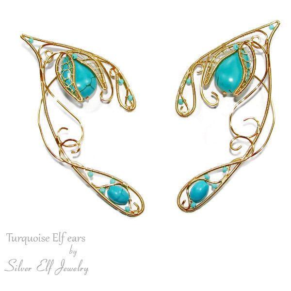 Turquoise Elf Ears, elven ears, elven ear cuff, elven ear wrap, elf... (3.520 RUB) ❤ liked on Polyvore featuring jewelry, earrings, special occasion jewelry, ear cuff earrings, wrap earrings, beading jewelry and holiday jewelry