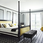 bedrooms - black yellow poster bed antique mirrored nightstands black tufted bench charcoal gray tufted chair yellow stool gray walls black geometric rug