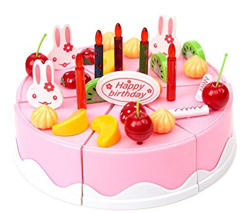 Life-Tandy 37pcs DIY Birthday Cake Model Kitchen Toy 3+ Children Kids Early Educational Classic Toy Pretend Play by Completestore