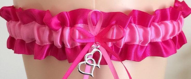 Fuchsia Pink and Hot Pink Wedding Garter, Bridal Garter