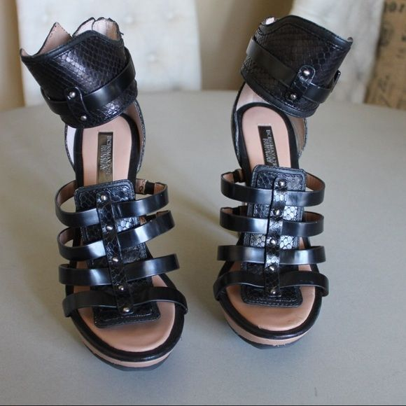 BCBG Max Azria runway Python gladiator heels Sz8. Stunning black BCBG RUNWAY Max Azria 8M Ma-Rana Python Strappy Metal Stiletto Gladiator Heels As New never worn BCBGMaxAzria Shoes Heels