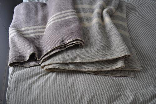 woolGrey Bedrooms, Nova Scotia, Wool Blankets, Mills Blankets, Beds Dresses, Cozy Blankets, Prince Edward Island, Interiors Ideas, Stripes Wool