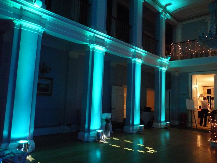 Simple But Lovely Teal Uplighting And Gobo At This Banquethall Rentmywedding