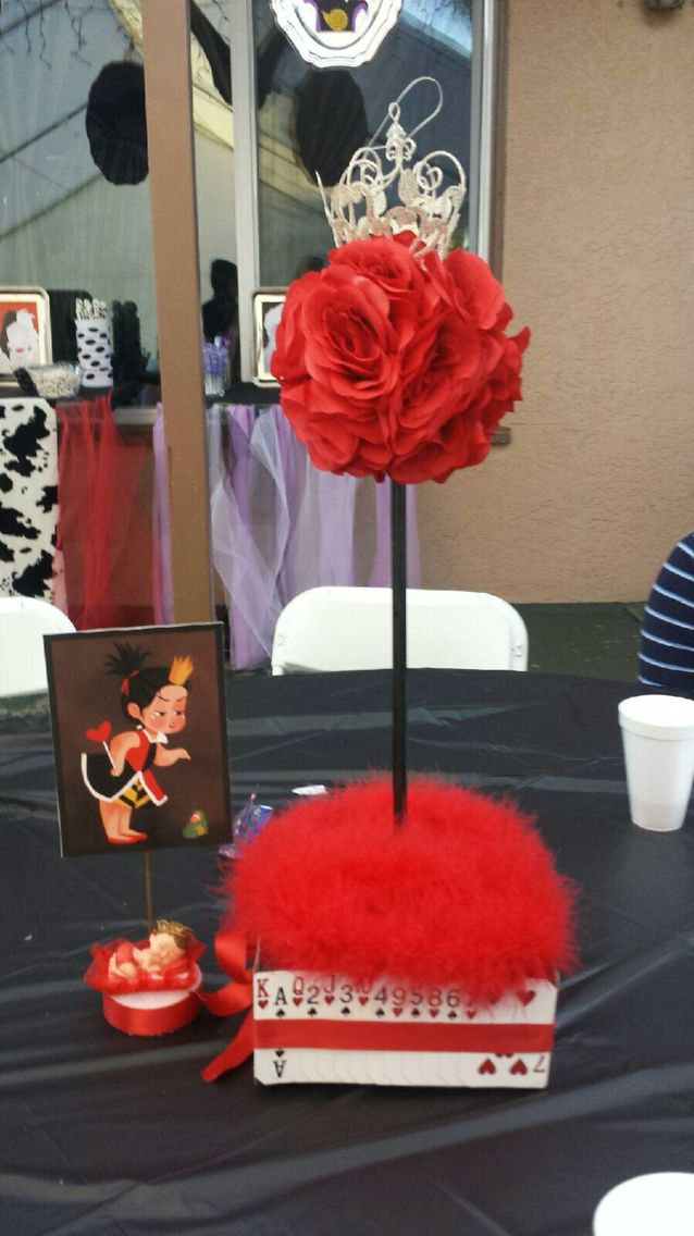 Queen of hearts centerpiece baby shower pinterest