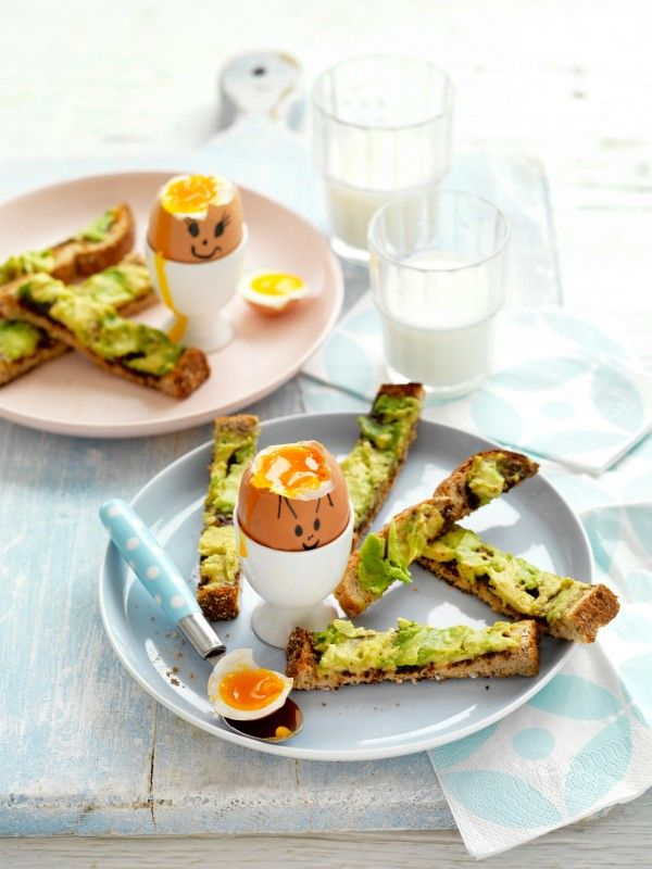 Funny Face Soft-boiled Eggs with Avocado and Vegemite Soldiers Recipe | myfoodbook | Kids Breakfast Recipes