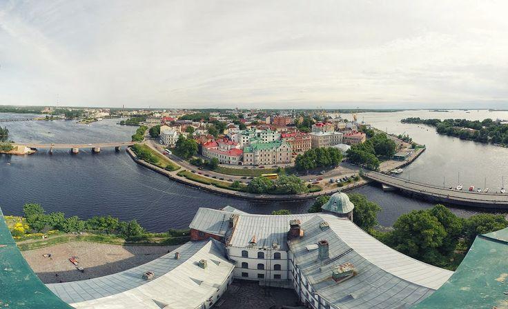 Вид на Выборг со смотровой площадки Выборгского замка (Европейская часть России)