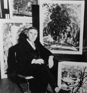 Marc-Aurèle Fortin devant ses oeuvres