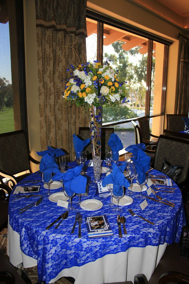 Blue And Gold Table Setting 1000 Images About Cjv Wedding Flowers On Pinterest Cascading